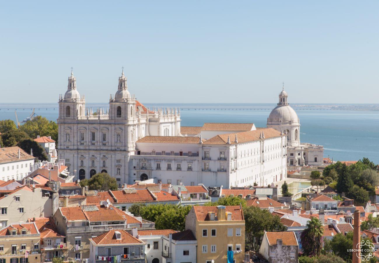 Vue sur le château de São Jorge et sur le Tage du balcon