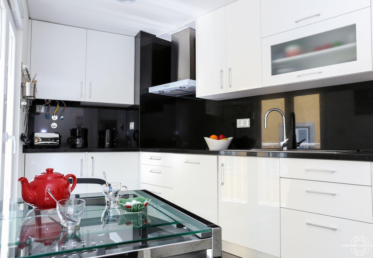 Cuisine haut de gamme lumineuse noir et blanc en marbre avec plaques de cuissons
