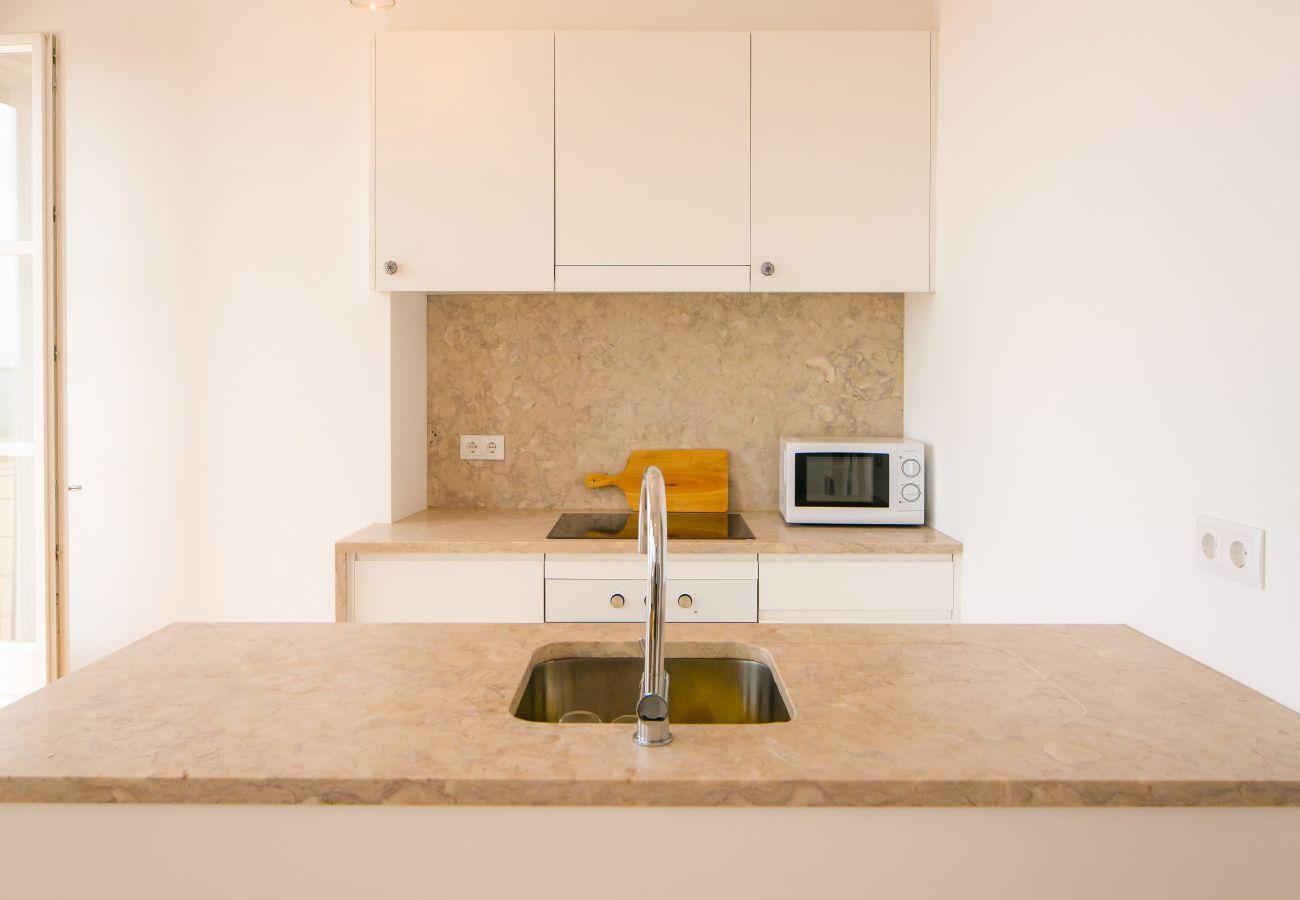 cuisine en marbre avec accès extérieur sur un balcon agréable avec vue sur le fleuve