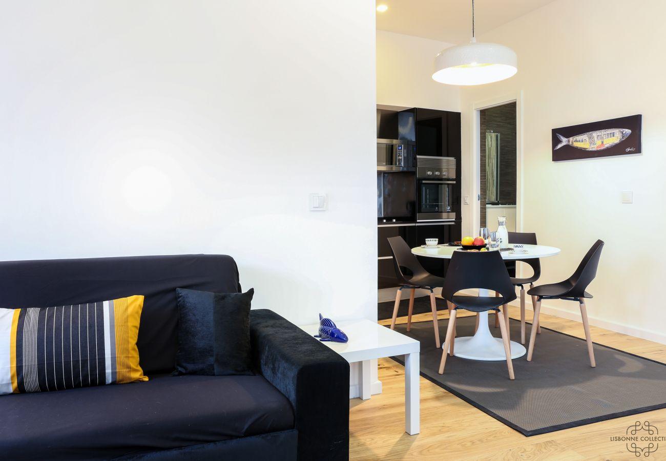 salon cuisine salle a manger ouverte en location à Lisbonne