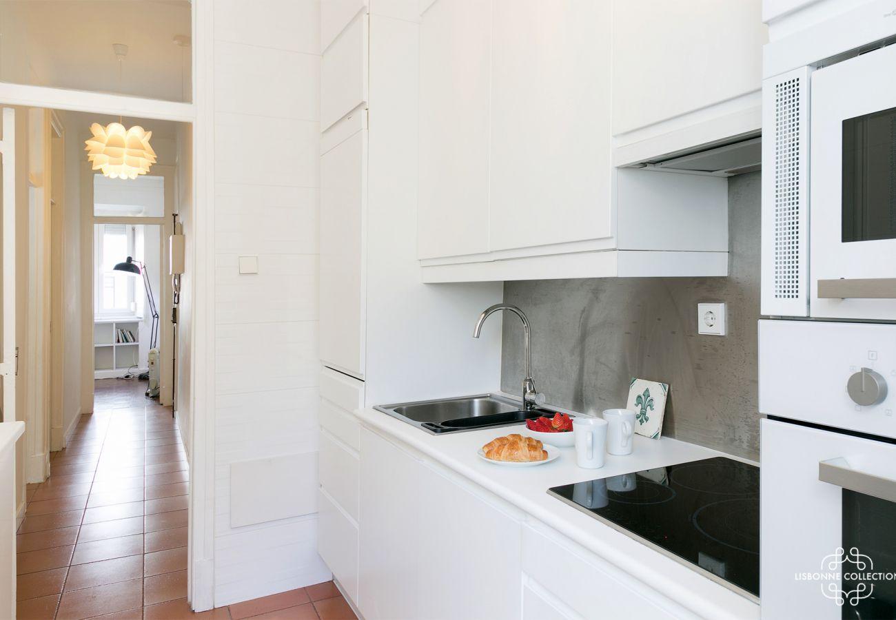 cuisine luxueuse donnant sur le couloir de l'entrée avec four, microonde, plaques de cuisson
