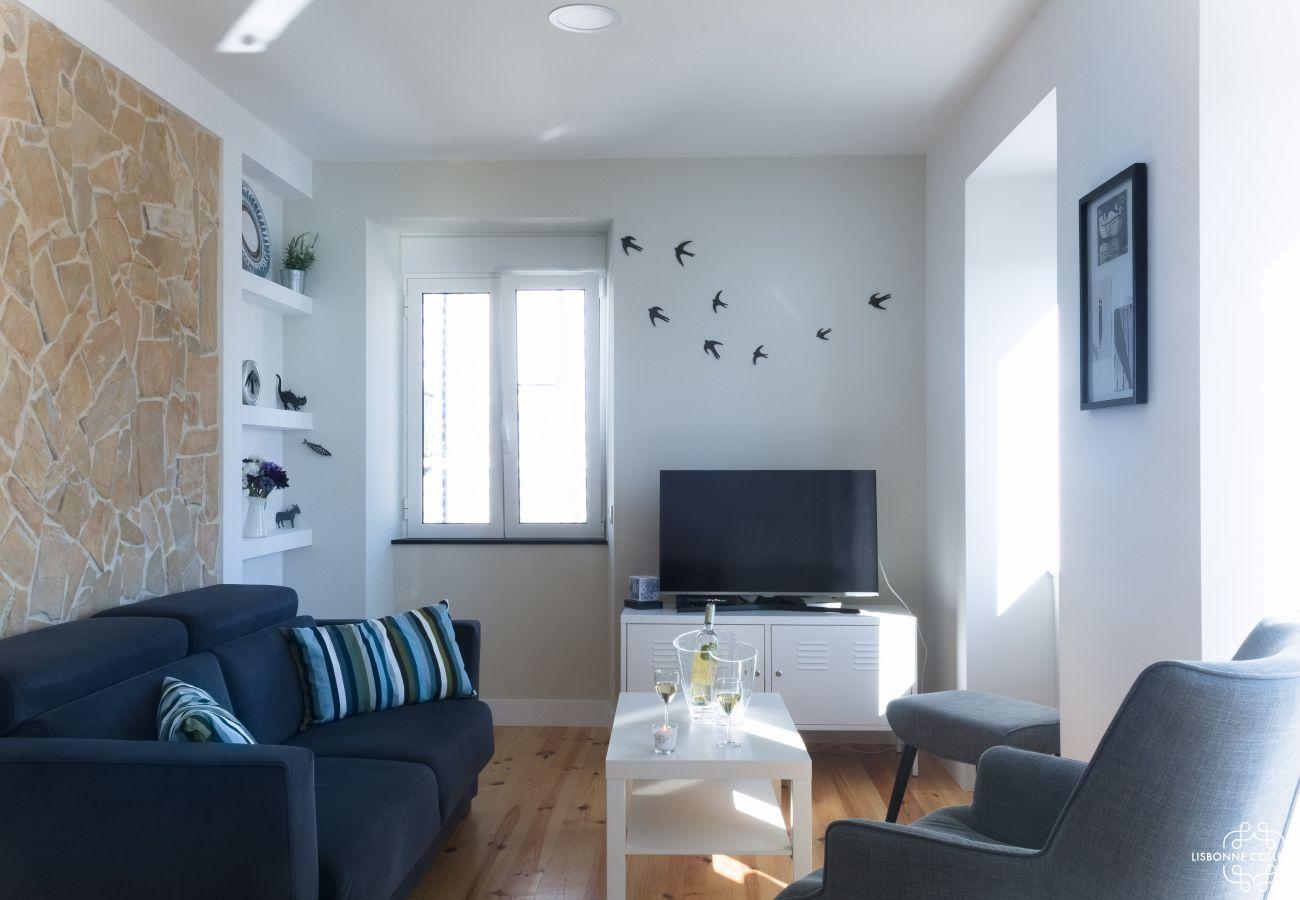 Grand séjour aménagé en location pour un séjour à Lisbonne