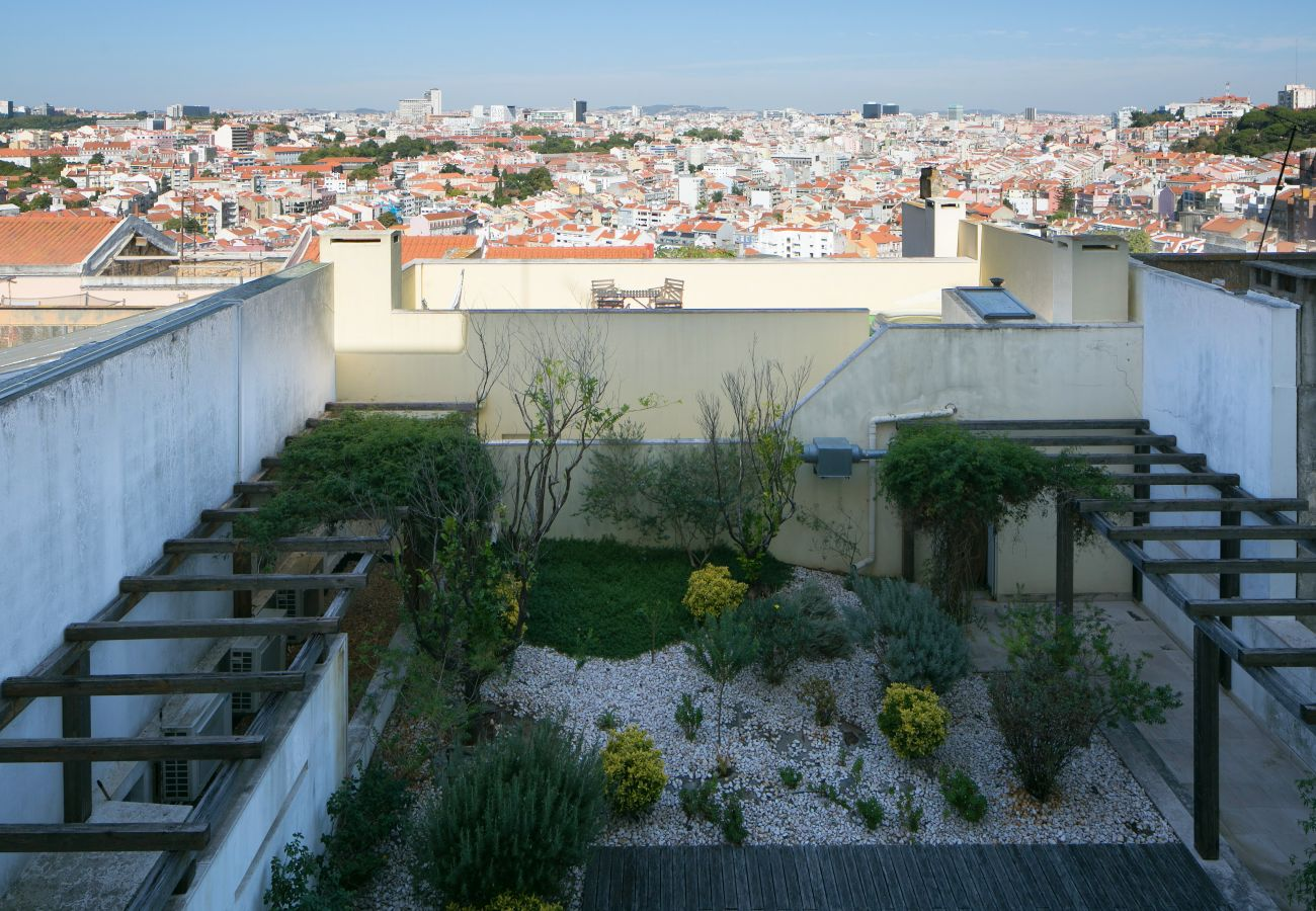 Vue sur le somptueux jardin et sur Lisbonne dans le cœur de la ville