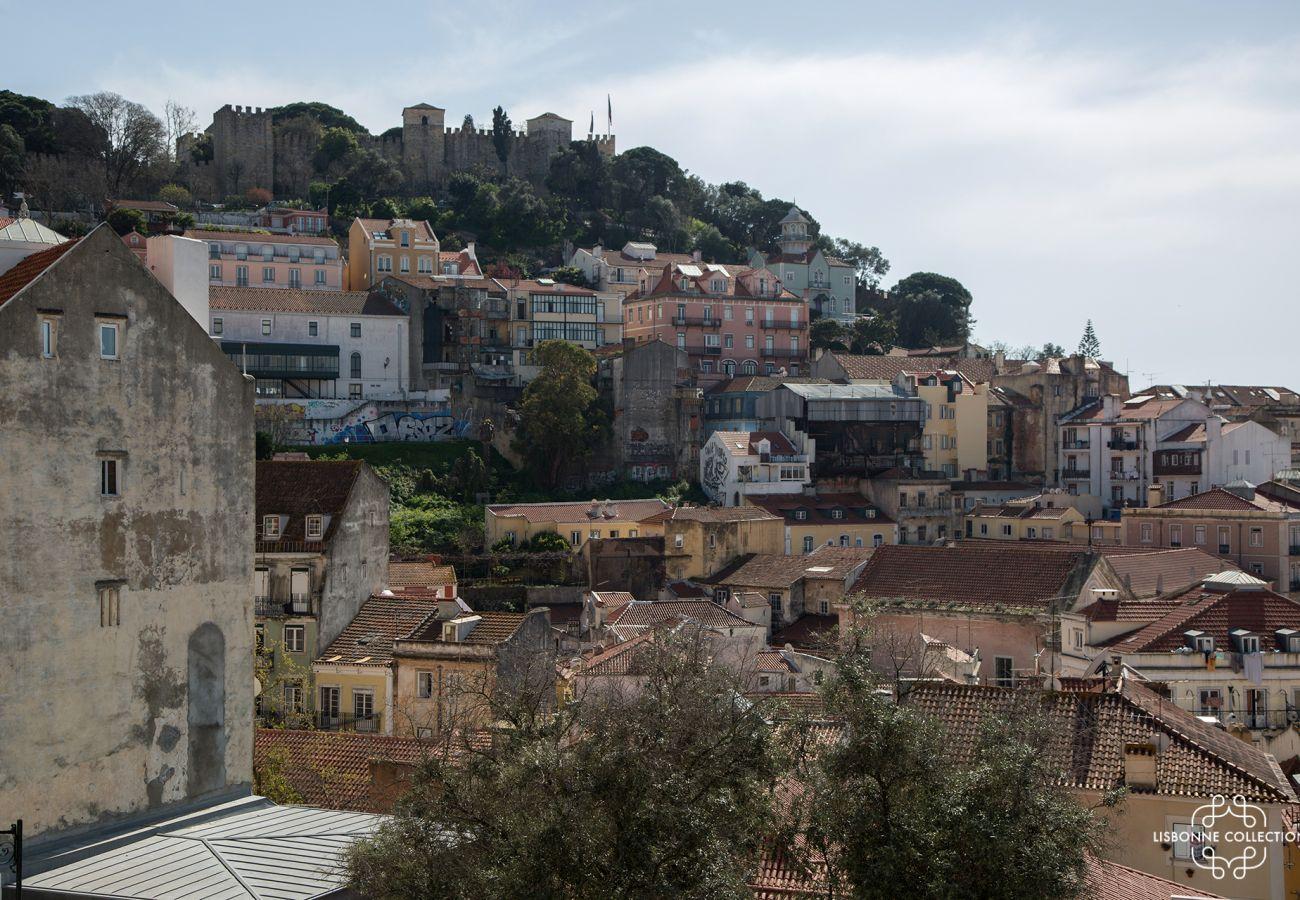 Vue de l'appartement de location dans le centre ville de Lisbonne
