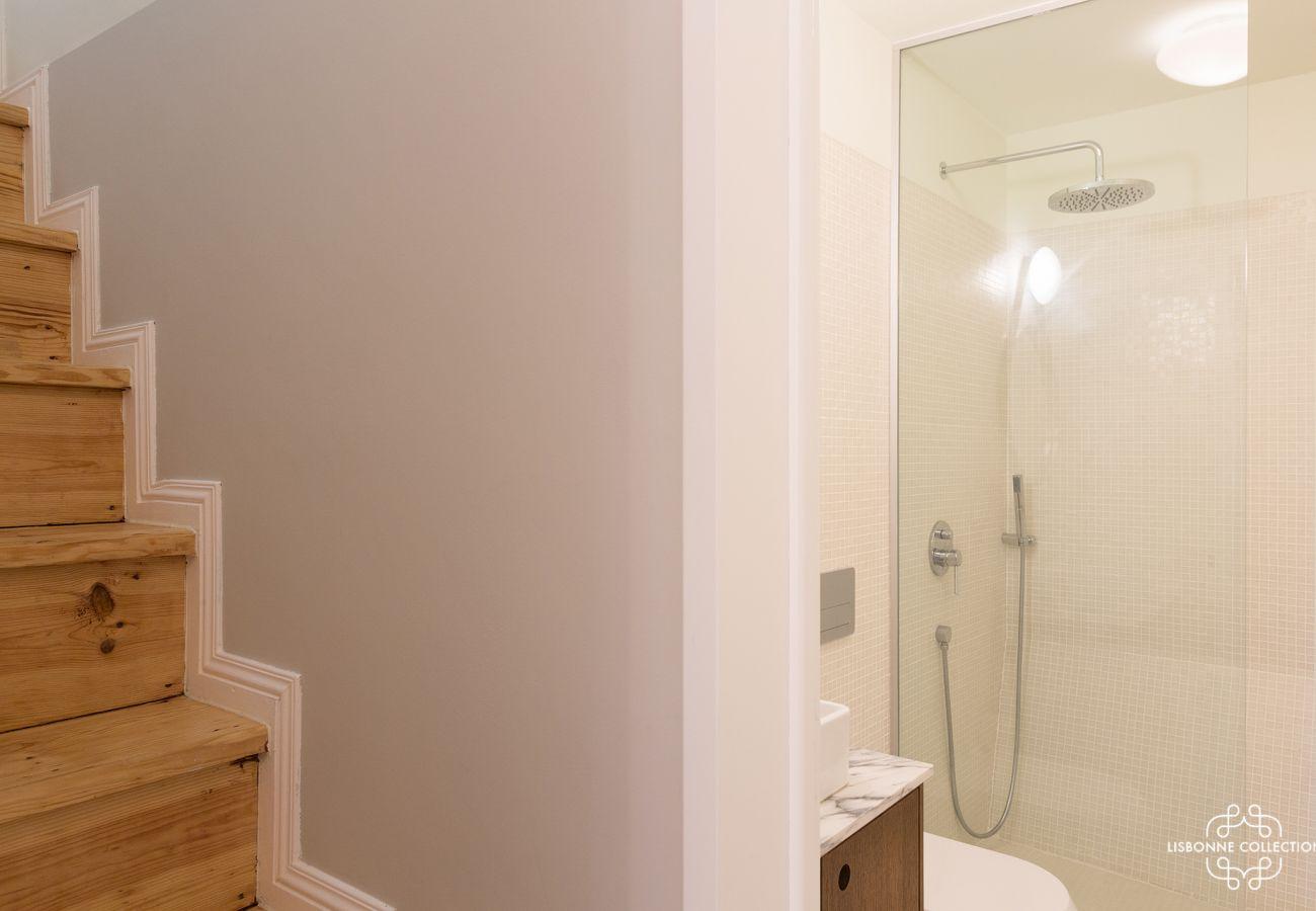 Appartement en duplex avec salle de bain composée d'une douche, d'un toilette et d'un évier